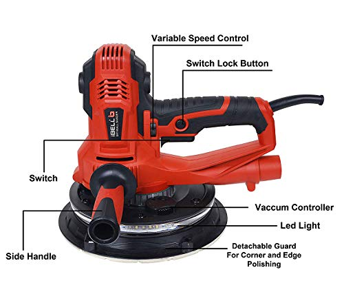 IBELL Dry Wall Sander DS80-90, 180MM, 800W, 1200-2300rpm with Vacuum and LED Light 3