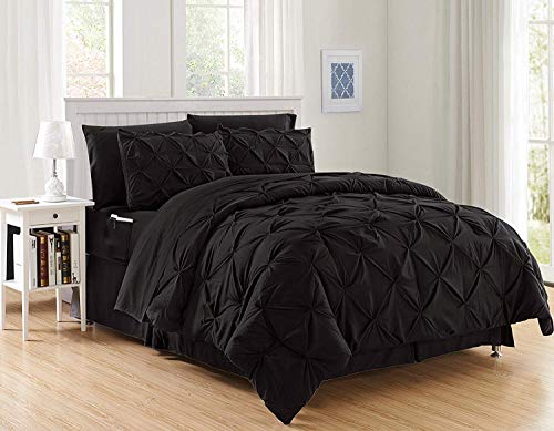 Decotex 8 Piece Luxury Juliet Pintuck Style Bed in a Bag Comforter Bedding Set with Sheets (Queen, Black)