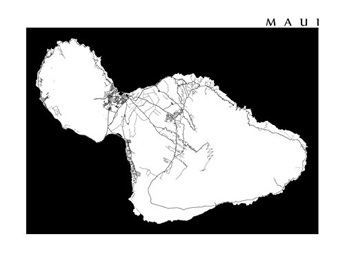 photograph about Maui Map Printable identify : Maui Black and White Map Print: Selfmade