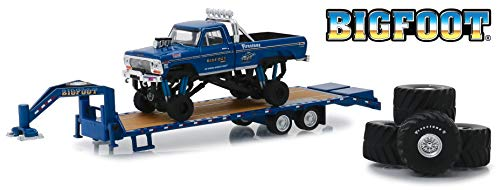 "Greenlight 1974 Ford F-250 Bigfoot #1 The Original Monster Truck (1979) W/Gooseneck Trailer & Regular & Replacement 66"" Tires 1/64 Diecast 30054 from Greenlight"