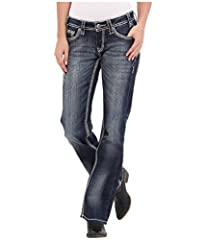 Rock and Roll Bottoms Size Guide  Rock and Roll Tops  The perfect pair for riding this rodeo season! Boot cut jeans feature a mid rise and relaxed fit throughout.  Dark blue wash presented on stretch-cotton denim.  Whiskers and sanding creat...