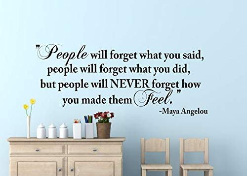 Best Design Amazing People Will Never Forget How You Made Them Feel Wall Decal-Inspirational Wall Word-Inspirational Quote-Maya Angelou-Wall Words-Wall Art Made in USA!