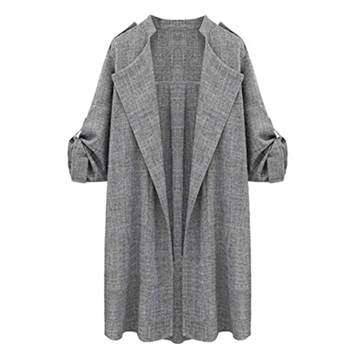 TOPUNDER Womens Jackets Open Front Trench Coat Long Cloak Overcoat Waterfall Cardigan Gray from TOPUNDER