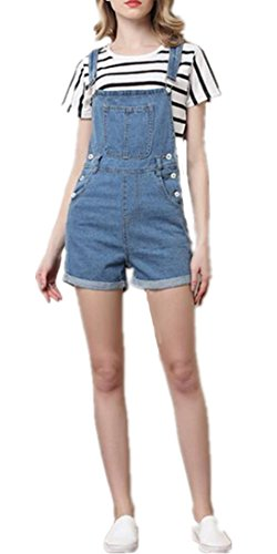 Lingswallow Women's Vintage Stretch Overalls Ripped Blue Cowboy Denim Shorts (US 4-6, Blue 5) - Vintage Overalls