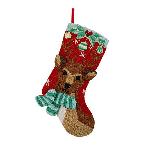 Alice Doria 21 Handmade Hooked 3D Reindeer Christmas Stocking with Beautifully Detailed Pattern
