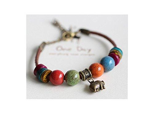 Elephant Leather (Rihan Adjustable Bohemian Handmade Ceramic Beads Leather Ceramic Bracelet(Elephant))