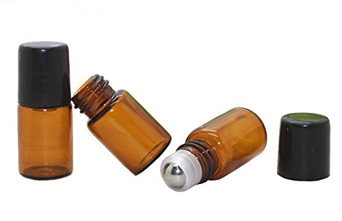 30 Pcs Mini 2ML Amber Glass Roller Bottles Refillable Aromatherapy Perfume Essential Oil Roll On Bottle Container Vials Jars Tube with Metal Ball