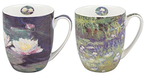 McIntosh Trading Monet Water Lilies Set of 2 Bone China Coffee ()