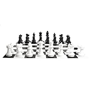 MegaChess Large Chess Set - 16 inch King; Bundle with Garden Checkers Set and Large Chess Board (3 items)