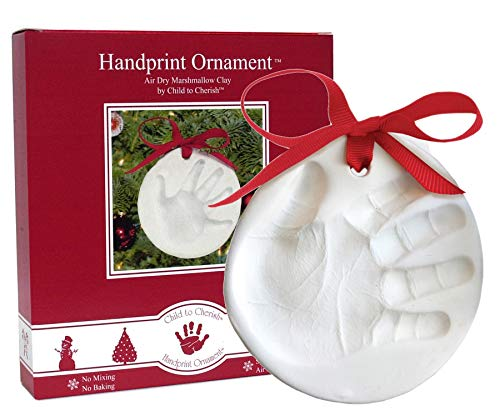 Child to Cherish Marshmallow Clay Baby Handprint or Footprint First Christmas Ornament -