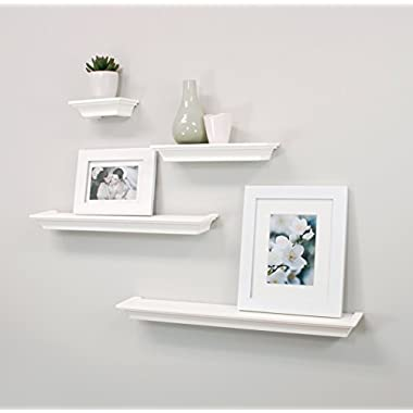 nexxt Classic Multi Length Shelves, White, Set of 4