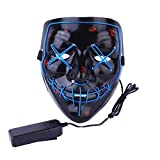 Halloween Mask Light Up V Mask EL Wire LED Scary Mask for Festival Parties Costume, Fakes Masquerades (Blue)