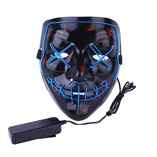 Halloween Mask Light up V Mask EL Wire LED Scary Mask for Festival Parties Costume, Fakes Masquerades -