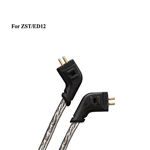 KZ Oxygen Free Copper OFC Silver Plated Headphone Cable,0.75mm 2 Pin for ES3/ZSR/ZST/Z3S/ZS4/ZS5/ZS6,1.2M