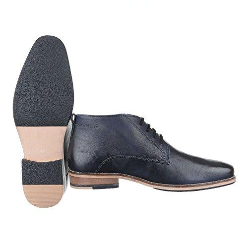 Ital-Design Stiefeletten Herren Leder Schuhe Chelsea Boots Blockabsatz Schnürer Schnürsenkel Boots Dunkelblau