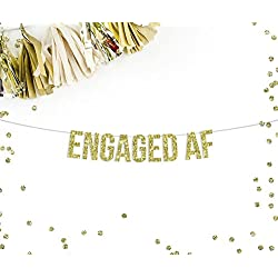 Engaged AF Gold Glitter Party Banner