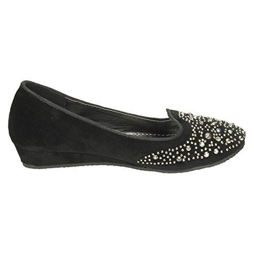 Black Studded Wedge Low On Spot Flats Girls Ballerina 4waqUa60g