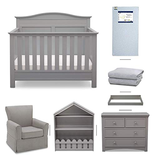 (Serta Barrett 7-Piece Nursery Furniture Set - Convertible Crib, Dresser, Changing Top, Bookcase, Crib Mattress, Glider, Crib Sheets - Grey)