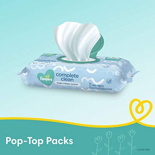 41vLB9BEyQL. AC - Baby Wipes, Pampers Complete Clean Scented Baby Diaper Wipes, 8X Pop-Top Packs And 8 Refill Packs For Dispenser Tub, 1152 Total Wipes (Packaging May Vary)