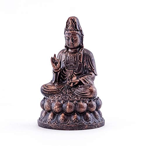 Top Collection Mini Seated Quan Yin Praying Statue- Enlightened Kwan Yin Goddess of Mercy and Compassion Hand Painted Sculpture with Bronze Finish Look - 4-Inch Collectible Meditating Buddha Figurine