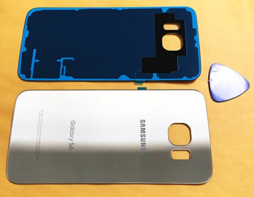 (md0410) Galaxy S6 OEM Gold Rear Back Glass Lens Battery Door Housing Cover + Adhesive Replacement For G920 G920A G920P G920T G920F G920V with opening (Att Cover)