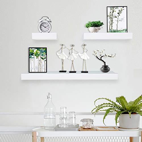 Coismo Set of 3 Multi length Floating Shelves, White (Shelves White Bathroom Floating)