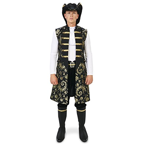 [Royal Pirate Vest and Pant Set with Hat and Boot Covers Adult Costume L] (Ship Captain Costumes)