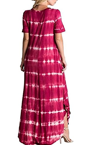 Occasionnels Bouffantes Robe Mupoduvos La Red t Avec Robes Femmes De Poche Tie Dye Rayures qTgXv