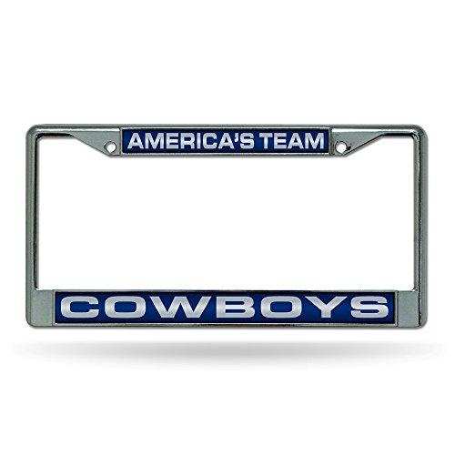 (Rico Industries NFL Dallas Cowboys Laser Cut Inlaid Standard Chrome License Plate Frame, 6
