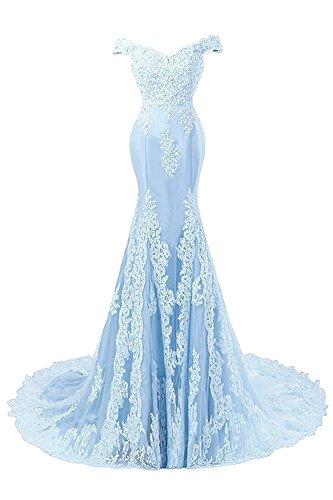 Largo Encaje Noche JAEDEN Vestido Azul de Sirena de Novia Mujer de Satín Vestido Vestidos Baile xww74U