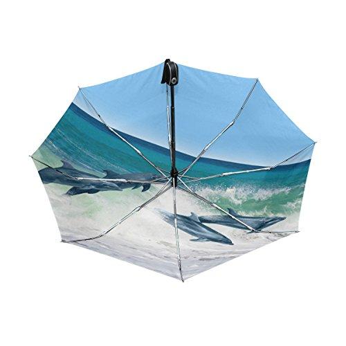 Dolphin Pattern Lightweight UPF 50+ Anti-UV Parasol Waterproof Windproof Reverse 3 Folds Auto Open Close Umbrella