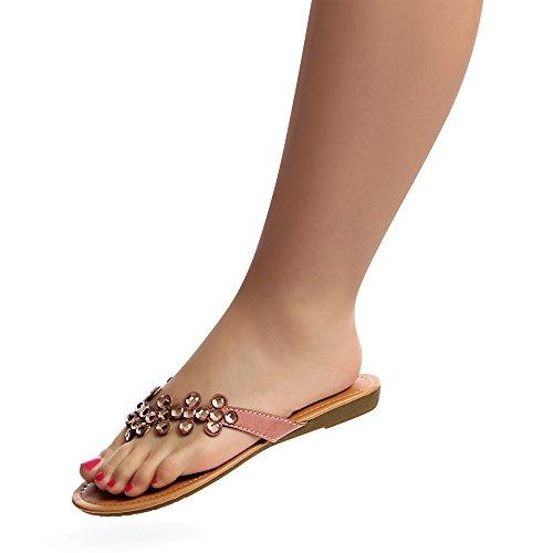 topschuhe24 Sandalettes Femmes Rose Sandales Plage HHp1qU