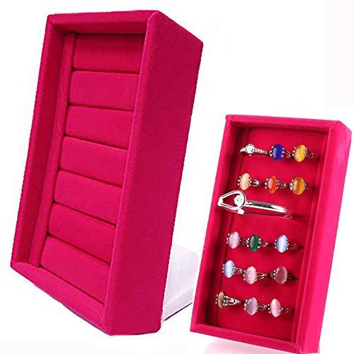 (JCHB Velvet Slots Ring Trays Showcase Display Jewelry Organizer (Pink))