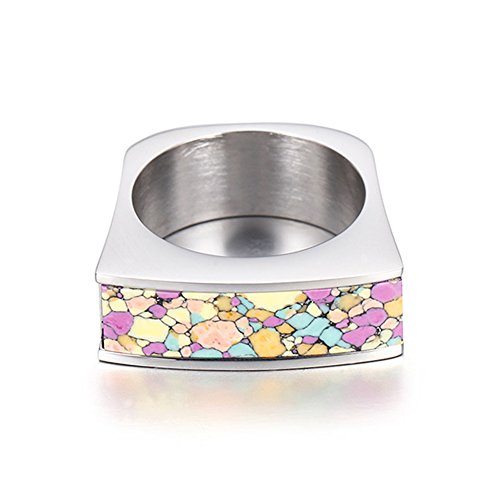LILILEO Jewelry 8mm Stainless Steel Inlaid Colorful Artificial Turquoise Ring For Women