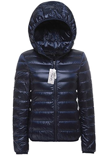 Womens in Blue Topgraph Jacket Puffer Packable Hooded Down Navy Coat Lightweight Short zdvdqxrw