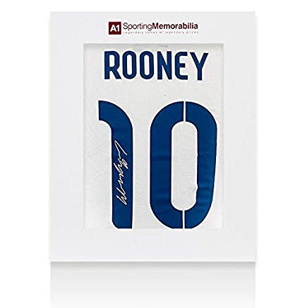 e3d91955df9d Wayne Rooney Signed 2014 15 England Shirt Number 10 With Fan Style Numbers  - Gif - Autographed Soccer Jerseys at Amazon s Sports Collectibles Store