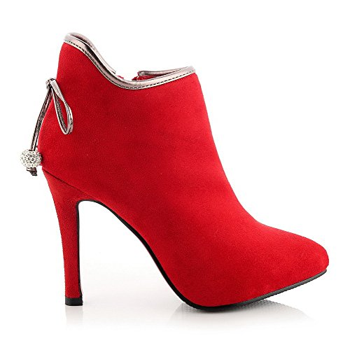 Frosted Toe High Boots Red Women's Heels Solid Pointed Closed Allhqfashion w5fZqx
