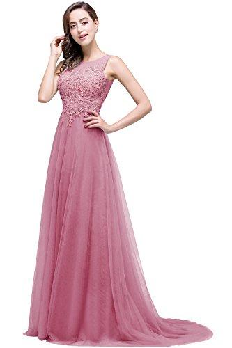 Abendkleid 46 lang Spitze Rückenfrei Tüll Altrosa Damen Elegant 32 Ballkleid MisShow Hochzeit Brautjungfernkleid xPpIAfqz4w