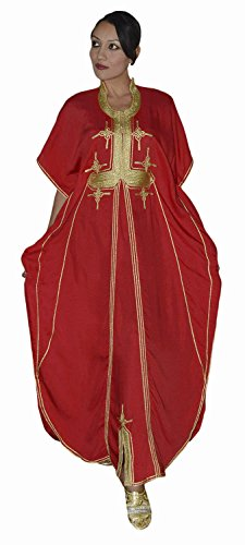 Moroccan Caftan Hand Made Breathable Cotton with Gold Hand Embroidery Long Red
