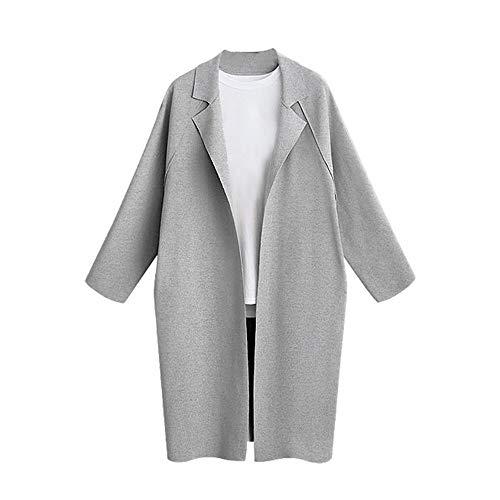 Larga Jacket Sylar Abrigo Sólido Punto Para De Casual Chaqueta Pullover Mujer Capa Gris Manga Invierno Color YOrnPUY