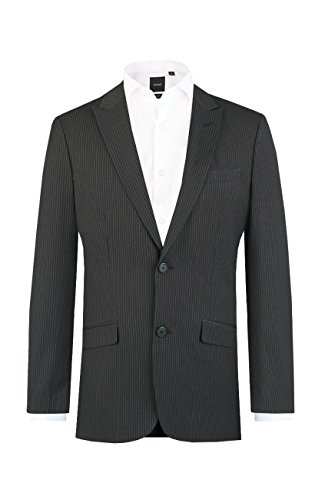 Dobell Mens Charcoal Pinstripe Tailored Fit Suit Jacket with Peak Lapel, 40R (Grey Pinstripe Suit Jacket)