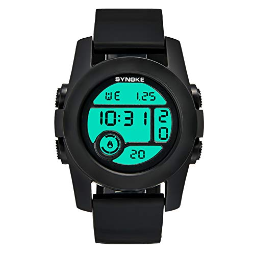 (dzsntsmgs Outdoor Sports Alarm Date Digital Display Students Silicone Band Wrist Watch - Black SFeatures Digital Display, Alarm Function, Date Display,)