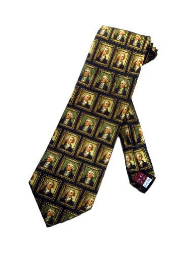 Museum Artifacts Mens President Thomas Jefferson Necktie - Black - One Size Neck Tie