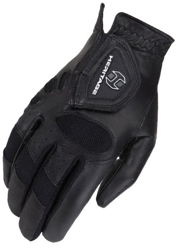 Equestrian Show Gloves - Heritage Tackified Pro-Air Show Gloves, Size 6, Black