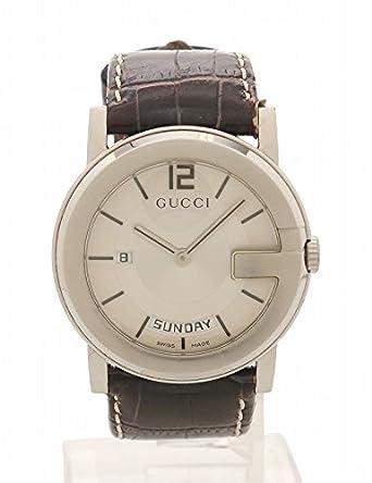 72fed969ea92 Amazon | (グッチ) GUCCI Gフェイスデイデイト クオーツ 腕時計 メンズ SS レザー シルバー 茶 101M 中古 | GUCCI( グッチ) | 腕時計 通販