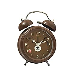 Candy Color Twin Bell Alarm Clock Brown Bear Cartoon
