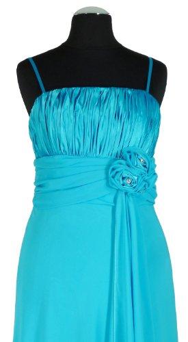 terciopelo Lebe®–Elegante gasa vestido para vestido de noche largo C6541piezas) en turquesa, talla 34–�?0Incluye estola turquesa