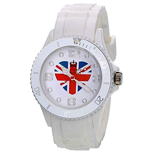 (Citron Unisex White Union Jack Heart Dial Fashion Rubber White Strap Watch UJ19A)