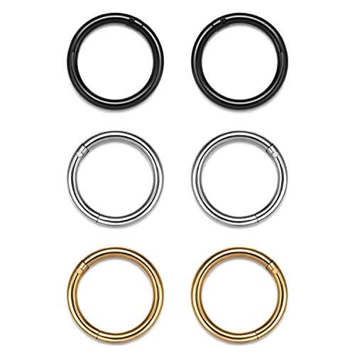 Evevil 16G Stainless Steel Hinged Clicker Segment Septum Ring Nose Hoop Ring Mixed 3 Pairs Cartilage Piercing (Smooth Segment Rings)