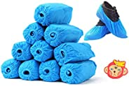 Blue Waterproof Rain Standard Disposable Shoe Covers/Overshoes. Floor, Carpet, Shoe Protectors CPE.Medium to H